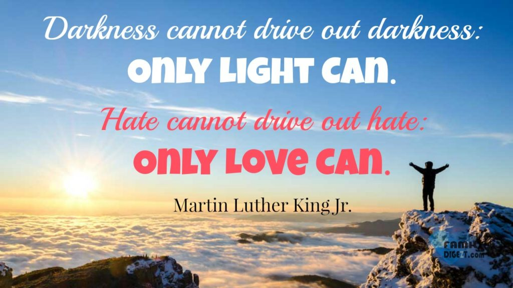 Love Quotes - Darkness cannot drive out darkness, Only Light Can. Hate cannot drive out hate, Only Love Can. Martin Luther King Jr.